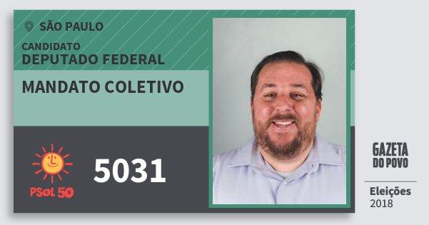Santinho Mandato Coletivo 5031 (PSOL) Deputado Federal | São Paulo | Eleições 2018