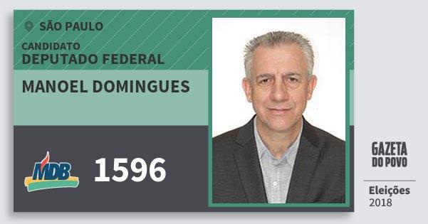 Santinho Manoel Domingues 1596 (MDB) Deputado Federal | São Paulo | Eleições 2018