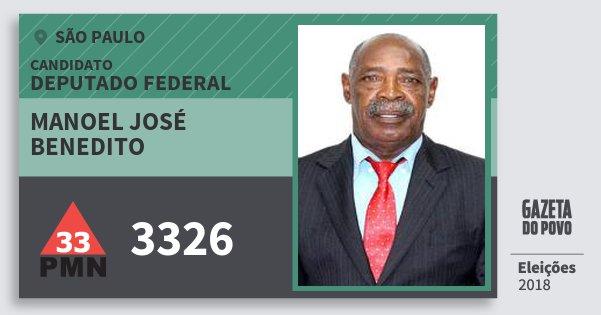 Santinho Manoel José Benedito 3326 (PMN) Deputado Federal | São Paulo | Eleições 2018