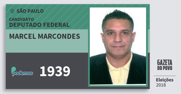 Santinho Marcel Marcondes 1939 (PODE) Deputado Federal | São Paulo | Eleições 2018