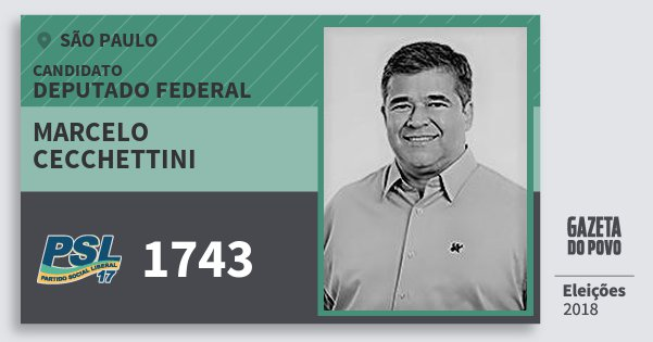 Santinho Marcelo Cecchettini 1743 (PSL) Deputado Federal | São Paulo | Eleições 2018