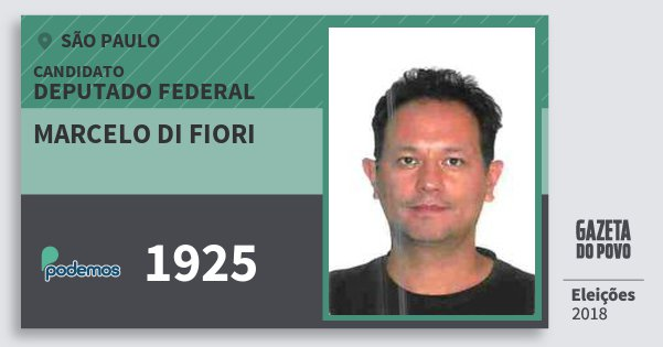 Santinho Marcelo di Fiori 1925 (PODE) Deputado Federal | São Paulo | Eleições 2018
