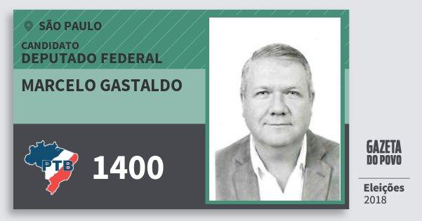 Santinho Marcelo Gastaldo 1400 (PTB) Deputado Federal | São Paulo | Eleições 2018
