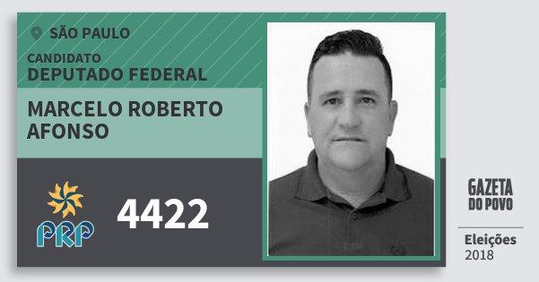 Santinho Marcelo Roberto Afonso 4422 (PRP) Deputado Federal | São Paulo | Eleições 2018