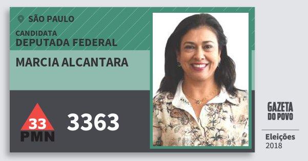 Santinho Marcia Alcantara 3363 (PMN) Deputada Federal | São Paulo | Eleições 2018