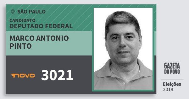 Santinho Marco Antonio Pinto 3021 (NOVO) Deputado Federal | São Paulo | Eleições 2018