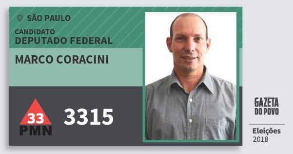 Santinho Marco Coracini 3315 (PMN) Deputado Federal | São Paulo | Eleições 2018