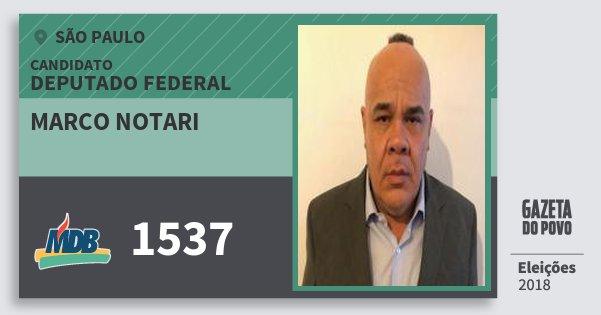 Santinho Marco Notari 1537 (MDB) Deputado Federal | São Paulo | Eleições 2018