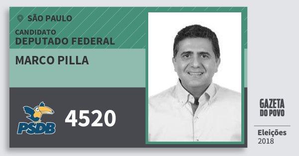 Santinho Marco Pilla 4520 (PSDB) Deputado Federal | São Paulo | Eleições 2018