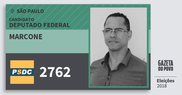 Santinho Marcone 2762 (DC) Deputado Federal | São Paulo | Eleições 2018