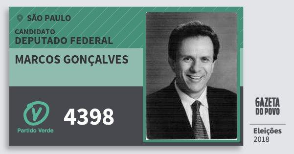 Santinho Marcos Gonçalves 4398 (PV) Deputado Federal | São Paulo | Eleições 2018