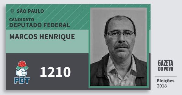 Santinho Marcos Henrique 1210 (PDT) Deputado Federal | São Paulo | Eleições 2018