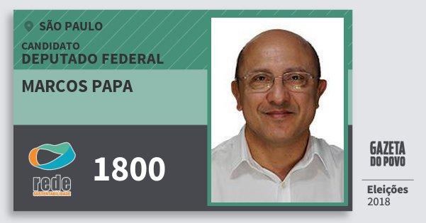 Santinho Marcos Papa 1800 (REDE) Deputado Federal | São Paulo | Eleições 2018