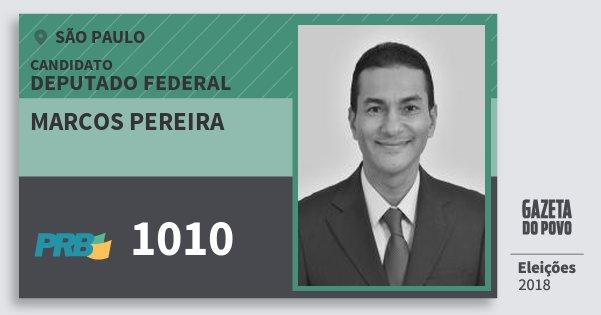 Santinho Marcos Pereira 1010 (PRB) Deputado Federal | São Paulo | Eleições 2018