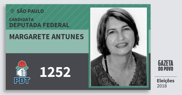 Santinho Margarete Antunes 1252 (PDT) Deputada Federal | São Paulo | Eleições 2018
