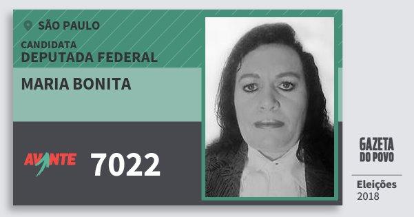 Santinho Maria Bonita 7022 (AVANTE) Deputada Federal | São Paulo | Eleições 2018