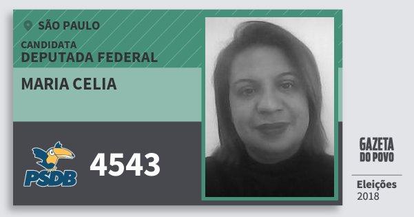 Santinho Maria Celia 4543 (PSDB) Deputada Federal | São Paulo | Eleições 2018
