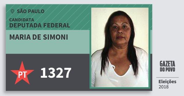 Santinho Maria de Simoni 1327 (PT) Deputada Federal | São Paulo | Eleições 2018