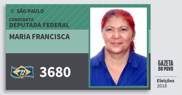 Santinho Maria Francisca 3680 (PTC) Deputada Federal | São Paulo | Eleições 2018