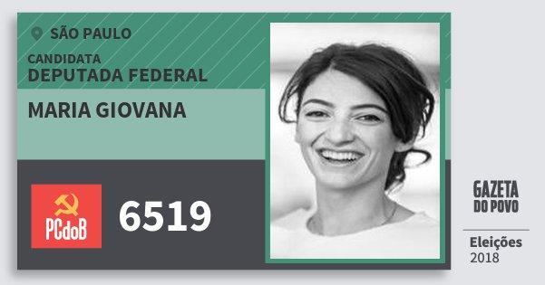 Santinho Maria Giovana 6519 (PC do B) Deputada Federal | São Paulo | Eleições 2018