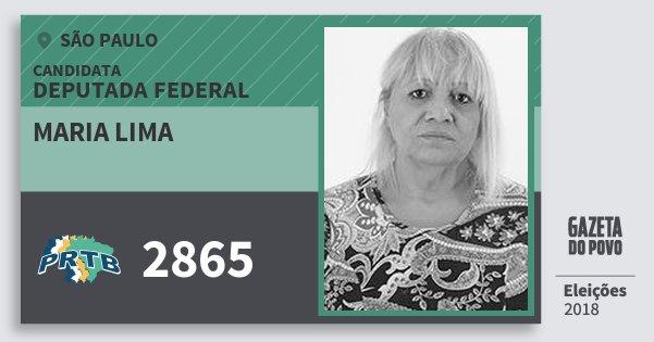 Santinho Maria Lima 2865 (PRTB) Deputada Federal | São Paulo | Eleições 2018