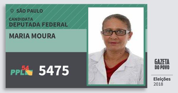 Santinho Maria Moura 5475 (PPL) Deputada Federal | São Paulo | Eleições 2018