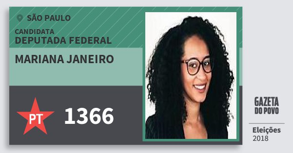 Santinho Mariana Janeiro 1366 (PT) Deputada Federal | São Paulo | Eleições 2018
