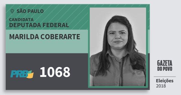 Santinho Marilda Coberarte 1068 (PRB) Deputada Federal | São Paulo | Eleições 2018