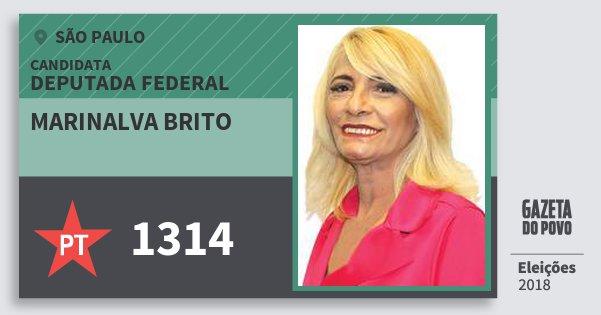 Santinho Marinalva Brito 1314 (PT) Deputada Federal | São Paulo | Eleições 2018