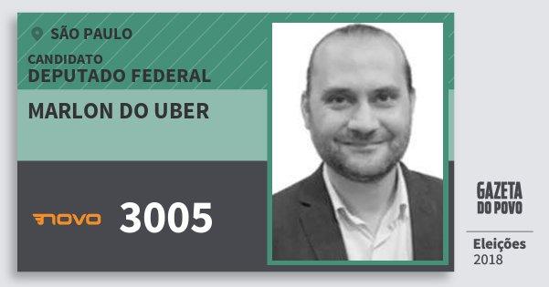 Santinho Marlon do Uber 3005 (NOVO) Deputado Federal | São Paulo | Eleições 2018