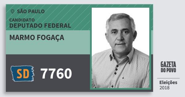 Santinho Marmo Fogaça 7760 (SOLIDARIEDADE) Deputado Federal | São Paulo | Eleições 2018