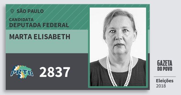 Santinho Marta Elisabeth 2837 (PRTB) Deputada Federal | São Paulo | Eleições 2018