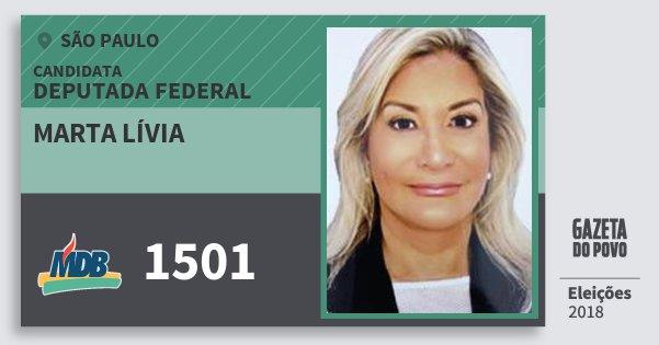 Santinho Marta Lívia 1501 (MDB) Deputada Federal | São Paulo | Eleições 2018