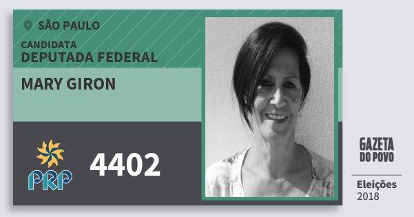 Santinho Mary Giron 4402 (PRP) Deputada Federal | São Paulo | Eleições 2018