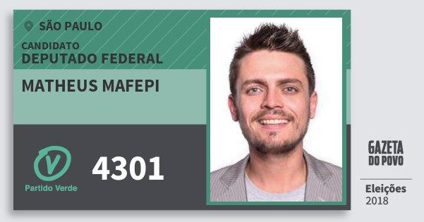 Santinho Matheus Mafepi 4301 (PV) Deputado Federal | São Paulo | Eleições 2018
