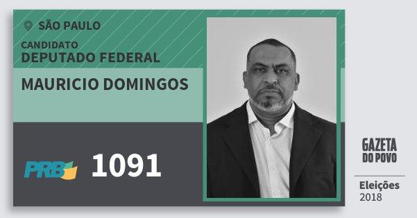 Santinho Mauricio Domingos 1091 (PRB) Deputado Federal | São Paulo | Eleições 2018