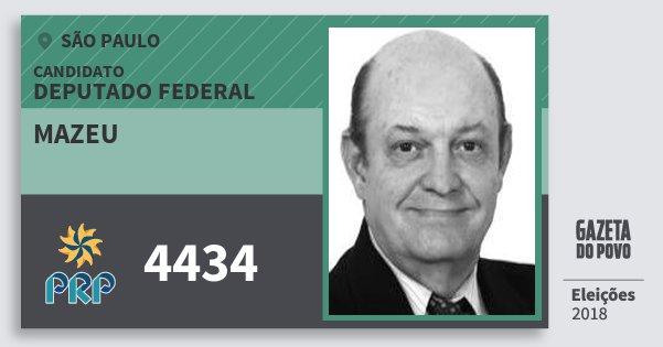 Santinho Mazeu 4434 (PRP) Deputado Federal | São Paulo | Eleições 2018