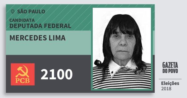 Santinho Mercedes Lima 2100 (PCB) Deputada Federal | São Paulo | Eleições 2018