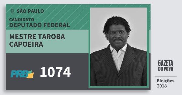 Santinho Mestre Taroba Capoeira 1074 (PRB) Deputado Federal | São Paulo | Eleições 2018