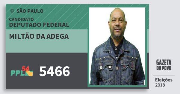 Santinho Miltão da Adega 5466 (PPL) Deputado Federal | São Paulo | Eleições 2018