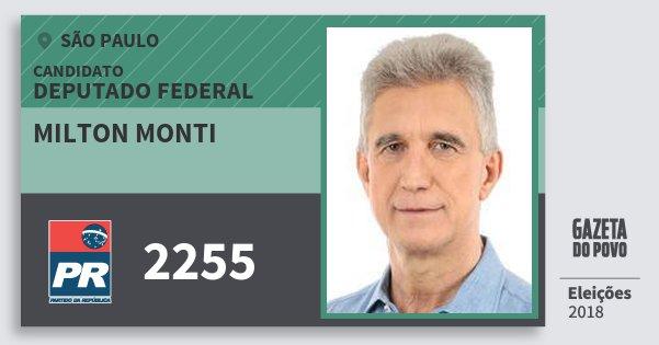 Santinho Milton Monti 2255 (PR) Deputado Federal | São Paulo | Eleições 2018