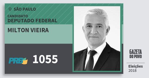 Santinho Milton Vieira 1055 (PRB) Deputado Federal | São Paulo | Eleições 2018