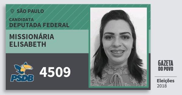 Santinho Missionária Elisabeth 4509 (PSDB) Deputada Federal | São Paulo | Eleições 2018
