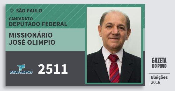 Santinho Missionário José Olimpio 2511 (DEM) Deputado Federal | São Paulo | Eleições 2018