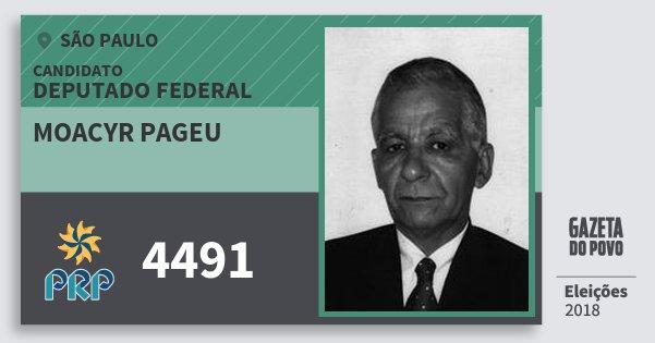 Santinho Moacyr Pageu 4491 (PRP) Deputado Federal | São Paulo | Eleições 2018
