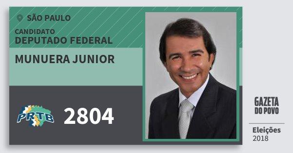 Santinho Munuera Junior 2804 (PRTB) Deputado Federal | São Paulo | Eleições 2018