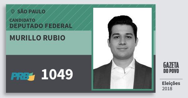 Santinho Murillo Rubio 1049 (PRB) Deputado Federal   São Paulo   Eleições 2018