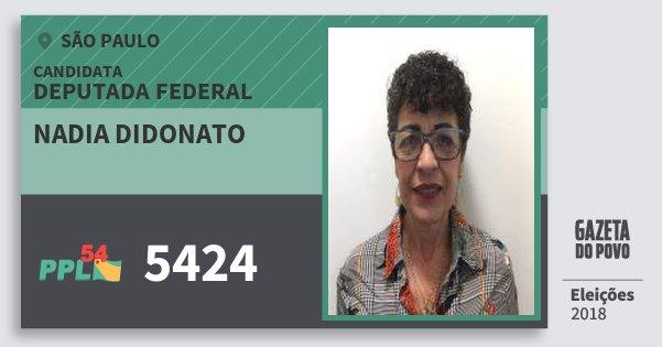 Santinho Nadia Didonato 5424 (PPL) Deputada Federal | São Paulo | Eleições 2018