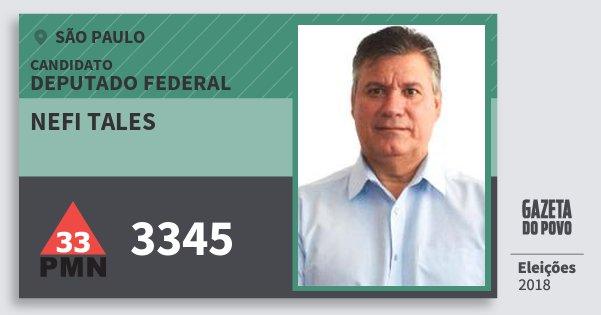 Santinho Nefi Tales 3345 (PMN) Deputado Federal | São Paulo | Eleições 2018
