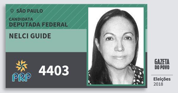 Santinho Nelci Guide 4403 (PRP) Deputada Federal | São Paulo | Eleições 2018